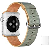 Brain Freezer Replacement Woven Nylon Watch Strap For Apple IWatch Series 1, Series 2 , Series 3 42MM Golden Royal Blue Watch Not Including Plus Screen Guard