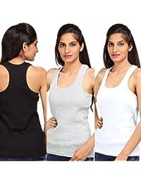 ALBATROZ Cotton T Back Ladies Plain Spaghetti Tank Top Vest Camisole Sando Women Combo 3 Black, White Grey (Free Size)