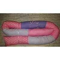 Bettschlange / Bettrolle mit Namen und Datum 200cm Länge rosa/flieder