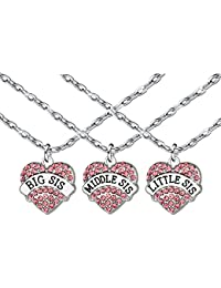 Collar con colgante de cristal rosa para amiga, hermana, familia, amistad, mujeres, gran medio pequeño Sis joyas Set