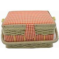 Prym-Carta a quadretti, stile Country-Cestino per il cucito, con luce e Basketry, in poliestere, colore: bianco/arancione, taglia M