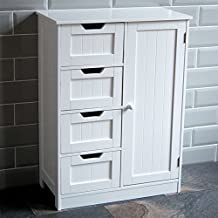 Home Discount® Bathroom Cupboard 4 Drawer 1 Door Floor Standing Cabinet Unit Storage Wood, White