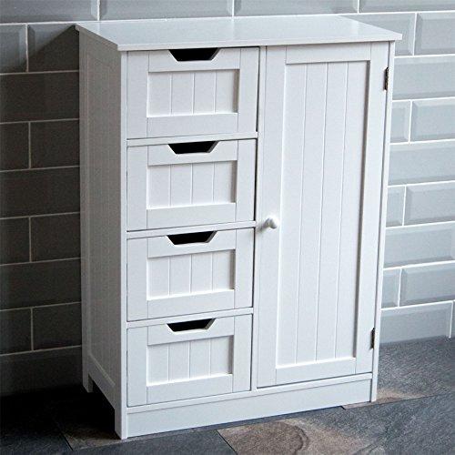 Home Discount Bathroom Cupboard 4 Drawer 1 Door Floor Standing Cabinet Unit Storage Wood, White