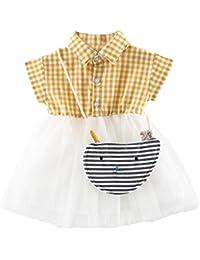 vestidos de niña, ASHOP Vestido a cuadros de manga corta vestidos de fiesta princesa niña Vestido de Tutú casual vestido de verano Ropa para 0-24 meses+Bolso, Hot sale!