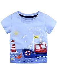 Baby Kids Girl Boy Print Camisas De Manga Corta Summer Tops Childrens Camiseta Edad 18-