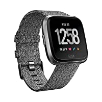 Fitbit Versa Health & Fitness Smartwatch with Heart Rate, 4+ Day Battery & Water Resistance, Special Edition, Charcoal Woven/Graphite Aluminum