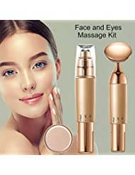 2-in-1 Face and Eye Massager Set Kit, Electric Face/Eye Roller Masssager, Energy Beauty Bar for Instant Face Lift, Anti-Wrinkles, Skin Tightening, Eliminate Dark Circles