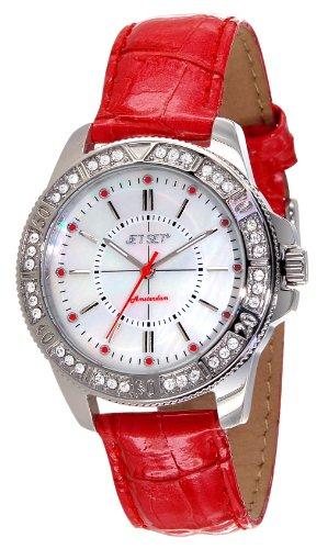 Jet Set 50974-138-Amsterdam-J Women's Quartz Analogue Watch-Red Leather Strap Nacre Dial