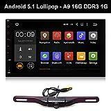 """7"""" Autoradio Double DIN GPS Stéréo Android 5.1 Tablette HD Écran Tactile Voiture Bluetooth Wifi Internet avec Caméra de Recul Multimedia DDR3 RAM 1G 16G Nand 1024*600 Multi-touch"""