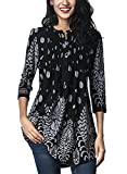 FIYOTE Womens Casual 3/4 Sleeve Floral Print Loose Tunic Long Blouse and Tops M Black