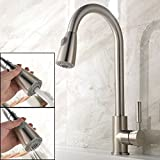 VAPSINT Modern Stainless Steel Single Lever One Hole Brushed Nickel Pull Down Sprayer Pull Out Kitchen Taps, Monobloc Brushed Steel Bar Sink Mixer