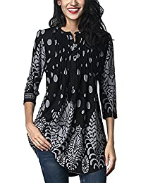 a62c3ae6f FIYOTE Womens Casual 3/4 Sleeve Floral Print Loose Tunic Long Blouse and  Tops