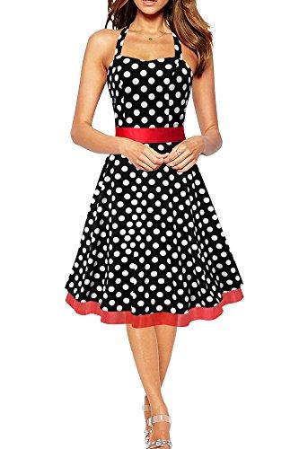 BlackButterfly 'Rhya' Vintage Polka-Dots Kleid im 50er-Jahre-Stil (Schwarz - Weiße Punkte, EUR 50 - 4XL) (50er Dot Polka Kleid Jahre)