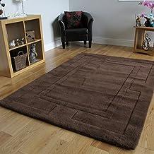 Nueva alfombra para comedor, 100% en lana suave con borde grueso. Color chocolate. 4 Tamaños disponibles - Elements