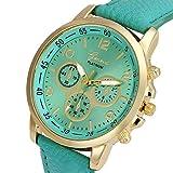 UNNSEAN Uhr,Unisex Casual Genf Kunstleder Quarz Analog Armbanduhr Uhren Runde Multifunktional Chronograph Mode Klassisch Beiläufig Armbanduhren (Minzgrün)