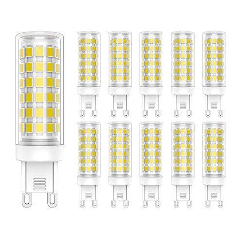 G9 LED Lampen,9W 700 Lumen LED Leuchtmittel,76 X 2835 SMD,6000 Kelvin Kaltweiß, ersetzt 70W Halogenlampen, 10er Pack 700 Lumen Led