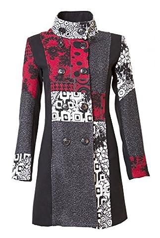 25 Designs-Sehr schöner Damen Luxus Winter Mantel Patchwork Trenchcoat 34 36 38 40 42 44 45 , Farbe:Rot/Grau mit Abnehmbarer Kapuze;Größe:XXL-42