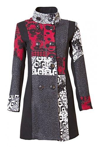 Sambosa 25 Designs-Sehr schöner Damen Luxus Winter Mantel Patchwork Trenchcoat 34 36 38 40 42 44 45, Farbe:Rot/Grau mit Abnehmbarer Kapuze;Größe:M-36