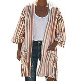 Hanomes Damen pullover, Bluse Damen Streifen Print Langarm Raffinierte Taschen Strickjacke Kimono Tops