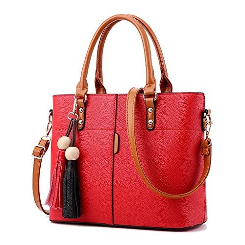 Baymate Damen Sommer Mode Schulter Messenger Bag beiläufige Handtasche mit Fransen Tasche große Taschetasche Rot