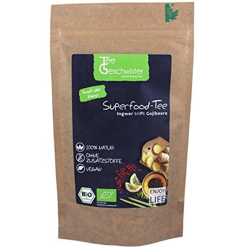 *Tee-Geschwister BIO Superfood Ingwertee mit Gojibeeren   Erkältungs-Tee für das Immunsystem   Geschenk-Idee für Gute Besserung Geschenke   Ingwer Zitronen-Tee   ohne Zusatzstoffe   100g*