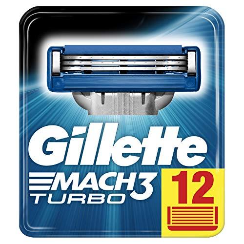 Gillette Mach3 Turbo Rasierklingen für Männer, 1er Pack (1 x 12 Stück) - Mach3 Rasierklingen 12 Gillette