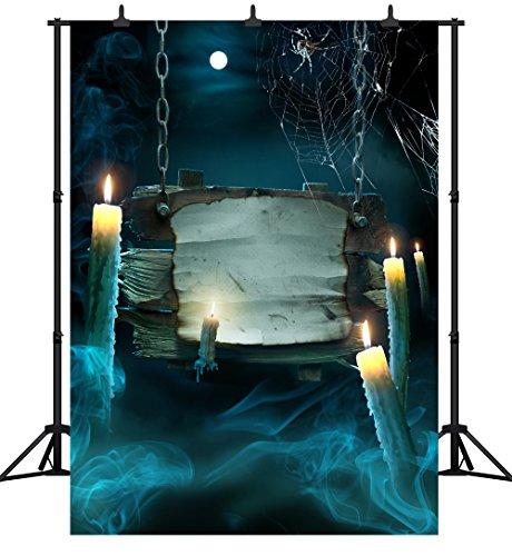 (DePhoto 5X7FT (150X210 cm) Halloween Thema Kürbis Laterne Maßgeschneiderte Nahtlose Vinyl Fotografie Hintergrund Foto Hintergrund Studio Prop PGT229A)