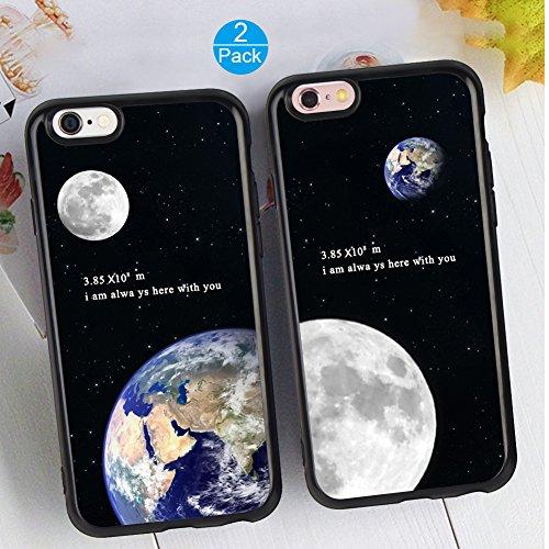 iPhone 6/6S Plus Schutzhülle TPU schwarz Full Cover schützende Paar Fällen Best Friends Schwester Cousin Geschenk für Freundin Freund für Apple iPhone 6/6S Plus, Earth&Moon3