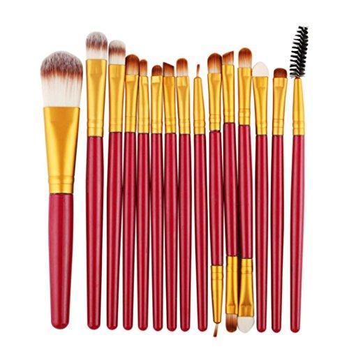 C'est Fard à paupières Fond de teint sourcils lèvres Brosse Lot de brosse de maquillage synthétique Kabuki Fond de teint Mélange Blush Eyeliner visage Brosse Poudre Beauté Cosmétique outils 15 pcs
