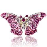 Flyonce Damen Österreichische Kristall Party Elegante Schmetterling Insekt Tier Brosche Rosa Gold-Ton