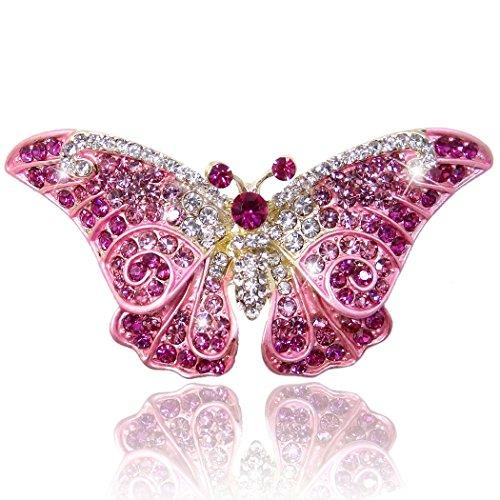 Flyonce Damen Österreichische Kristall Party Elegante Schmetterling Insekt Tier Brosche Rosa Gold-Ton -
