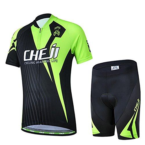 LSHEL Kinder Radsport Anzüge (Fahrrad Trikot Kurzarm + Radhose), Schwarz+Grün, 146(Herstellergröße: XXL) -