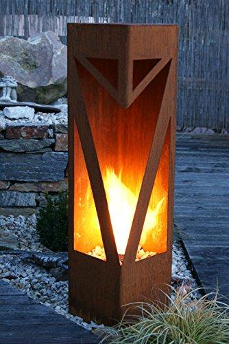 *Feuersäule Classic Edelrost Rost Metall Gartendeko Garten Stele Fackel Feuer Säule*