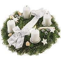 Dominik Blumen und Pflanzen, Adventskranz Schneeflöckchen, 30 cm, weiß