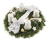 Echter Adventskranz Schneeflöckchen, 30 cm im Durchmesser, mit weißen Kerzen