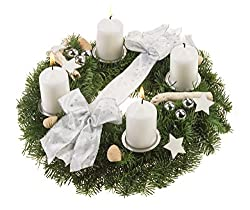 Dominik Blumen Und Pflanzen, 751355 Adventskranz Schneeflöckchen, 30 Cm, Weiß