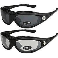 2er Pack Locs 9006 X05 Sonnenbrillen Herren Damen Männer Brille - 1x Modell 07 (schwarz glänzend - Square-Design / schwarz getönt) und 1x Modell 07 (schwarz glänzend - Square-Design / schwarz getönt) 7tyEf4