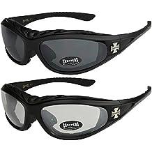 X-CRUZE® 2er Pack Choppers 6608 X 06 Sonnenbrillen Unisex Herren Damen Männer Frauen Brille - 1x Modell 14 (schwarz glänzend/annährend transparent) und 1x Modell 06 (silber matt/schwarz getönt) kW0OkRuHn