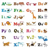 Decowall Alphabet ABC and Animals Kids Wall Stickers (1308 / 1308L / 8001)