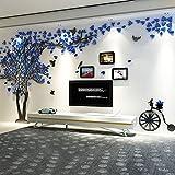Warmcasa Vinilo Pegatina de Pared Pareja de Árboles 250 * 131 cm Decorativos Murales con 3 Marcos de Foto 12.7 * 8.89 cm Decoración Hogar (M, Azul 2)