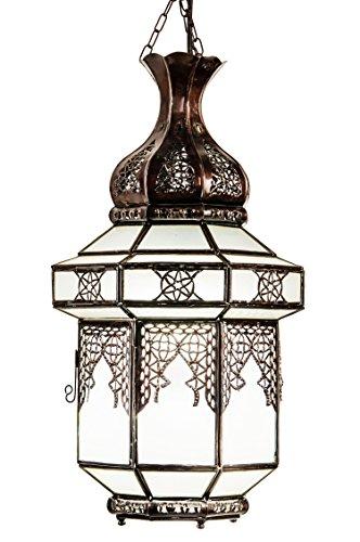 Orientalische Lampe Pendelleuchte Weiß Nebi 45cm E27 Lampenfassung | Marokkanische Design Hängeleuchte Leuchte aus Marokko | Orient Lampen für Wohnzimmer Küche oder Hängend über den Esstisch