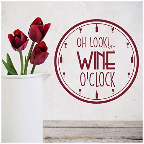 azutura Wein Uhr Wandtattoo Küche Zitate Wand Sticker Essen Trinken Wohnkultur verfügbar in 5 Größen und 25 Farben Extraklein Gras Grün -