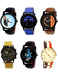 NIKOLA Best 3D Design Mahadev Black Blue And Brown Color 6 Watch Combo (B22-B47-B17-B42-B23-B50) For Boys And...