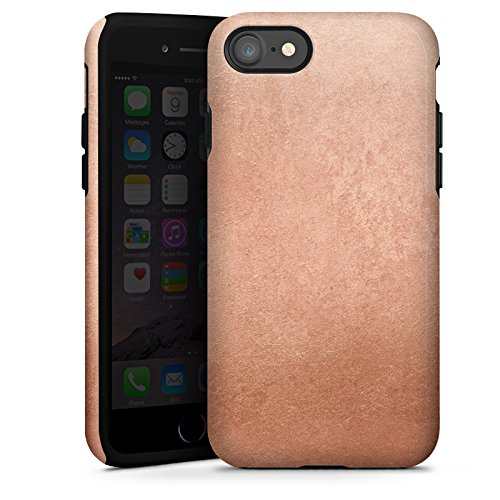 Apple iPhone X Silikon Hülle Case Schutzhülle Metall Rose Gold Look Tough Case glänzend