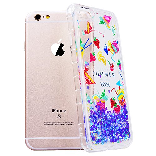 WE LOVE CASE iPhone 6 Plus / 6s Plus Cover Glitter Transparente Quicksand Liquido Cristallo Chiaro Diamante Bling Sparkle Liquid Sabbie Mobili AmoreCaramella iPhone 6 Plus / 6s Plus 5,5 Custodia Viol fruit