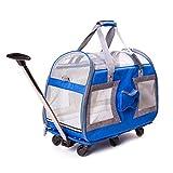DHMHJH Haustier großen Wagen vierrädrigen Haustier Auto, Reise tragbaren Hund Tasche Katze Tasche Blau 58cmx25cmx35cm