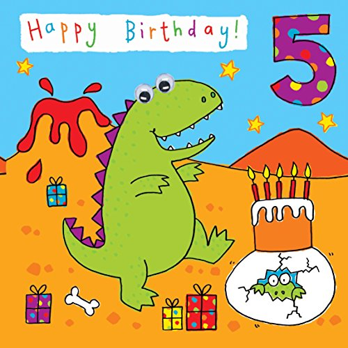 Twizler 5th Birthday Card For Child With Dinosaur Party And Hand Finished Googly Eyes 5 Year Old Age Childrens