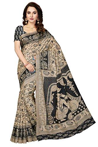 Rani Saahiba Bhagalpuri Printed Art Silk Saree ( SKR3430_Beige - Black )