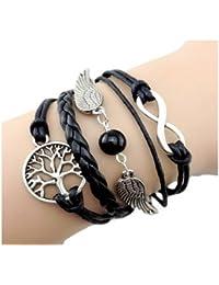 Infinity Bijoux - Pulsera infinito árbol de la vida, alas de ángeles y bolas / eternidad / one direction - negro / plateado