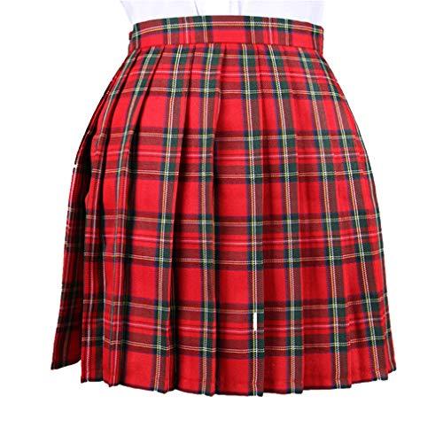 JiXuan Frauen Plaid Plissee Tennis Mini Rock Schulmädchen Uniform Skort - Plaid Skort Rock